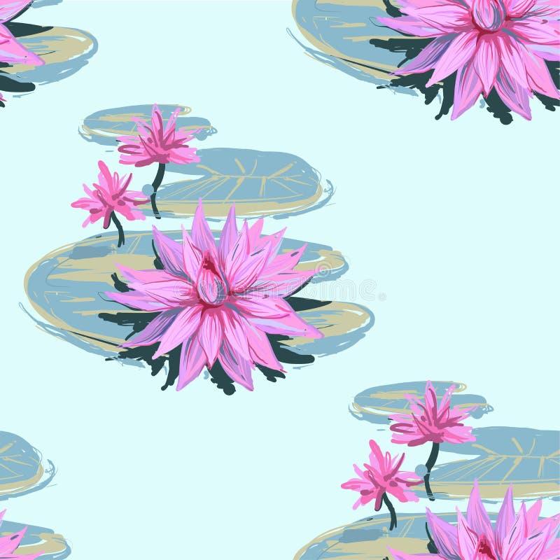 Vector il modello senza cuciture realistico di schizzo dei fiori e delle foglie di loto isolati su fondo bianco Progettazione per illustrazione vettoriale