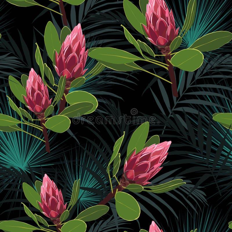 Vector il modello tropicale senza cuciture, fogliame tropicale vivo, con le foglie di palma, fiore rosso del protea in fioritura illustrazione di stock