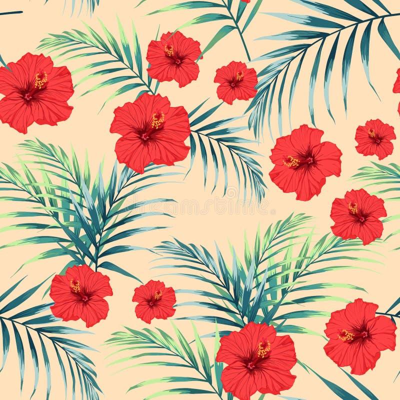 Vector il modello tropicale senza cuciture, fogliame tropicale vivo, con le foglie di palma, ibisco rosso tropicale fioriscono in royalty illustrazione gratis