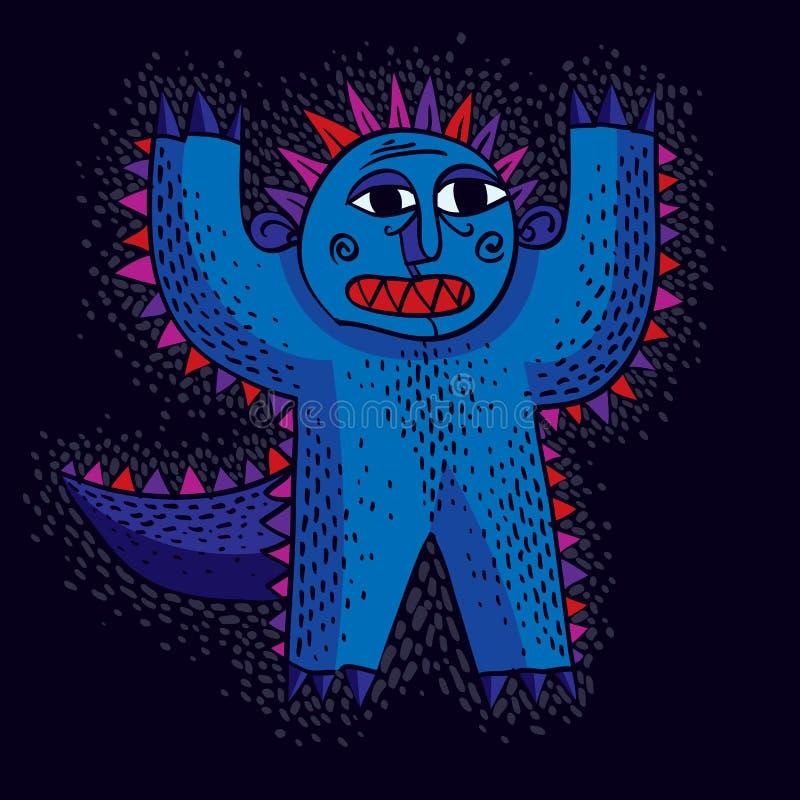 Vector il mostro spaventato fumetto fresco con le mani su, c strana semplice illustrazione di stock