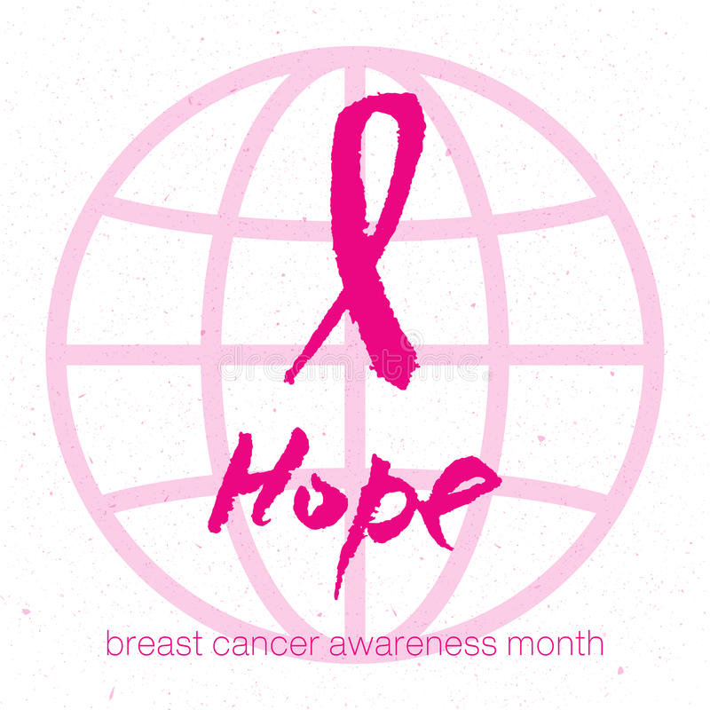 Vector il nastro rosa dell'acquerello - simbolo di consapevolezza del cancro al seno illustrazione di stock