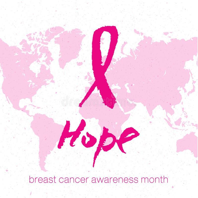 Vector il nastro rosa dell'acquerello - simbolo di consapevolezza del cancro al seno royalty illustrazione gratis