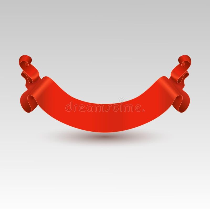 Vector il nastro rosso festivo, isolato su un fondo grigio royalty illustrazione gratis