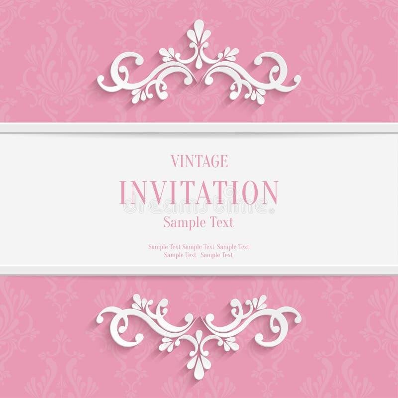 Vector il Natale 3d ed il fondo floreali rosa delle carte dell'invito royalty illustrazione gratis