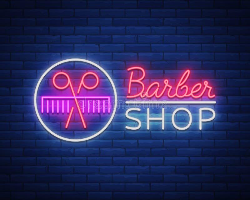 Vector il negozio di barbiere dell'insegna al neon di logo per la vostra progettazione Per un'etichetta, un segno, un segno o una illustrazione vettoriale