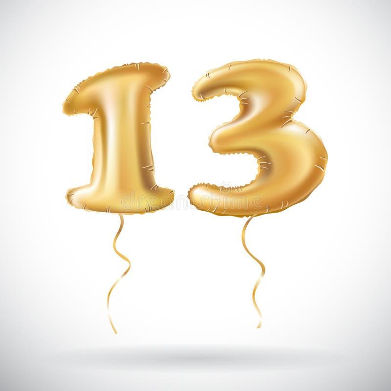 Vector il numero dorato 13 tredici ha fatto del pallone gonfiabile su fondo bianco illustrazione vettoriale