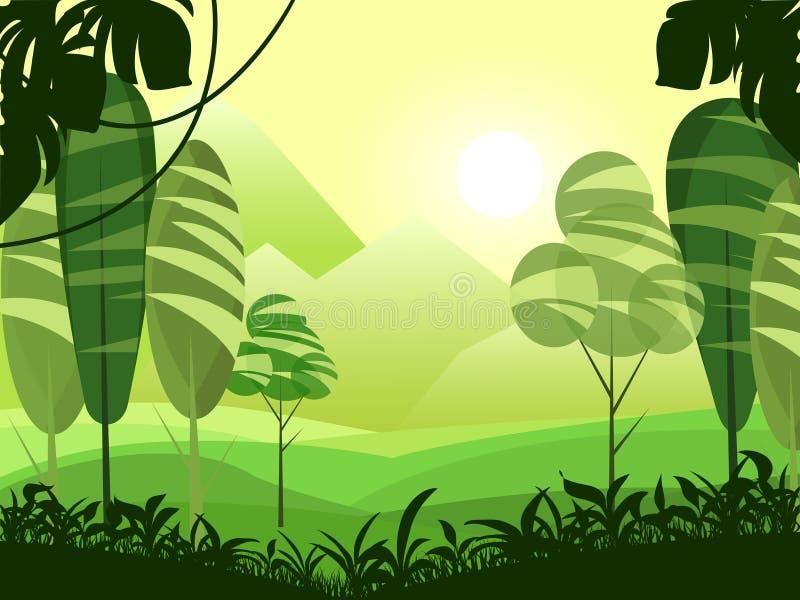 Vector il paesaggio piano sveglio con la montagna, la foresta, lago ed appannato l'illustrazione Stile del fumetto di surrealismo illustrazione di stock