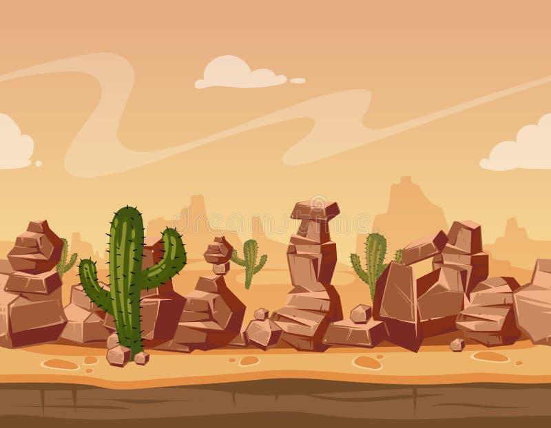Vector il paesaggio senza cuciture orizzontale del fumetto con le pietre ed il cactus Illustrazione selvaggia del fondo del gioco illustrazione vettoriale