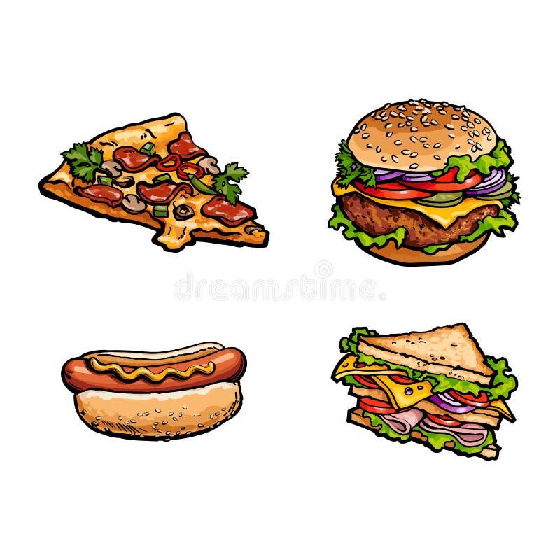 Vector il panino, insieme della fetta della pizza del hot dog dell'hamburger illustrazione di stock