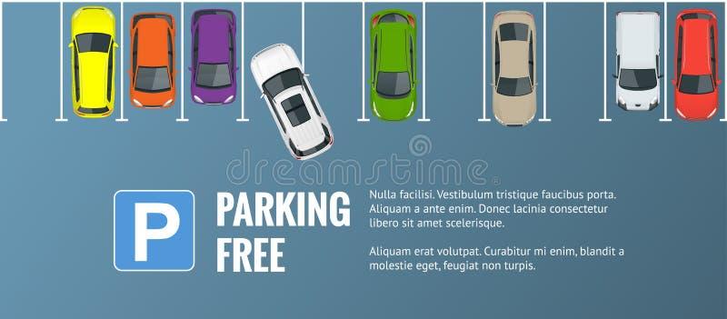 Vector il parcheggio della città dell'illustrazione con un insieme delle automobili differenti illustrazione di stock