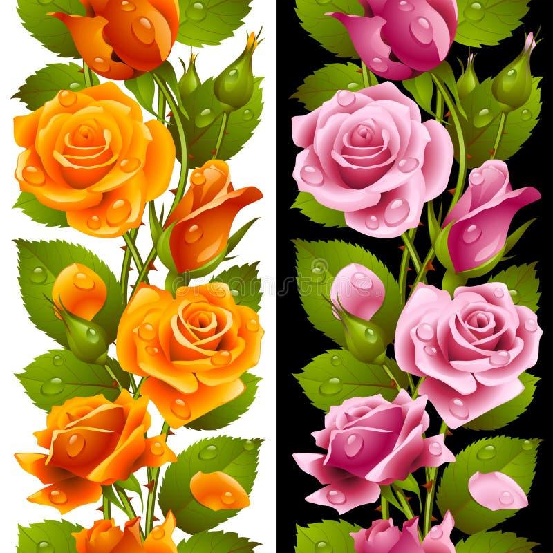 Vector il patt senza cuciture verticale della rosa di rosa e di giallo royalty illustrazione gratis