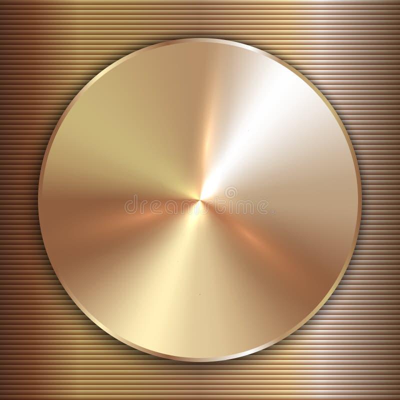 Vector il piatto dorato rotondo del metallo prezioso con la linea illustrazione vettoriale
