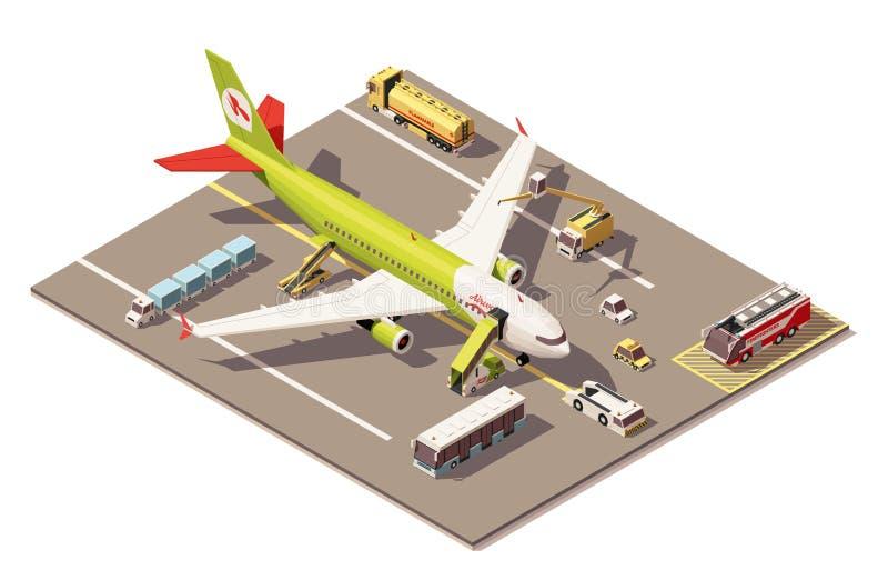 Vector il poli grembiule basso isometrico dell'aeroporto con l'aeroplano, le attrezzature del supporto al suolo ed i veicoli illustrazione vettoriale