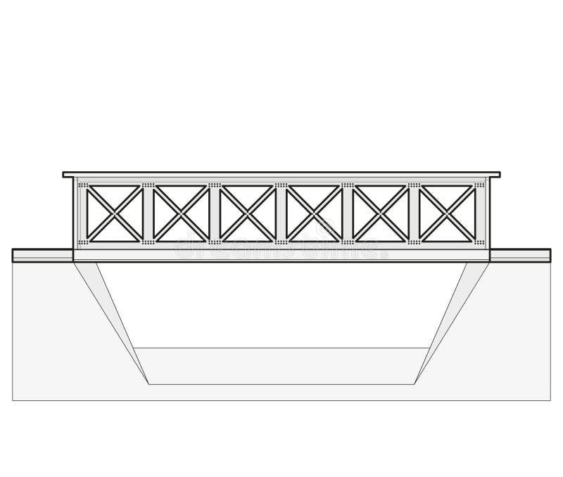 Vector il ponte del treno, 2d vista laterale, isolata su fondo bianco illustrazione di stock