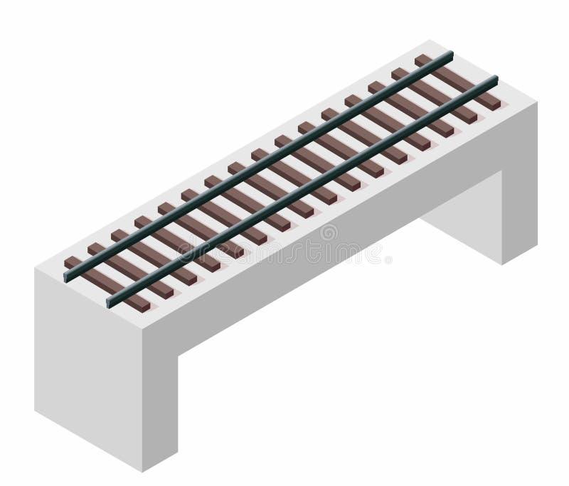 Vector il ponte del treno, la prospettiva isometrica 3d, isolata su fondo bianco illustrazione vettoriale