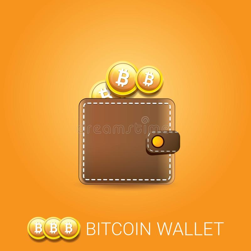 Vector il portafoglio marrone del bitcoin con le monete isolate su fondo arancio Concetto di affari di Bitcoin royalty illustrazione gratis