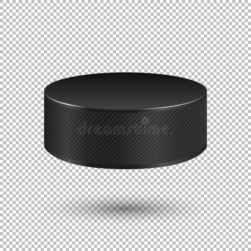 Vector il primo piano realistico del disco di hockey su ghiaccio di volo su fondo trasparente Modello di progettazione in EPS10 illustrazione di stock