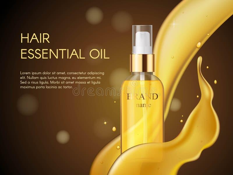 Vector il prodotto realistico del cosmetico della protezione di cura di capelli di bellezza 3D Contenitore dorato dell'olio per c royalty illustrazione gratis
