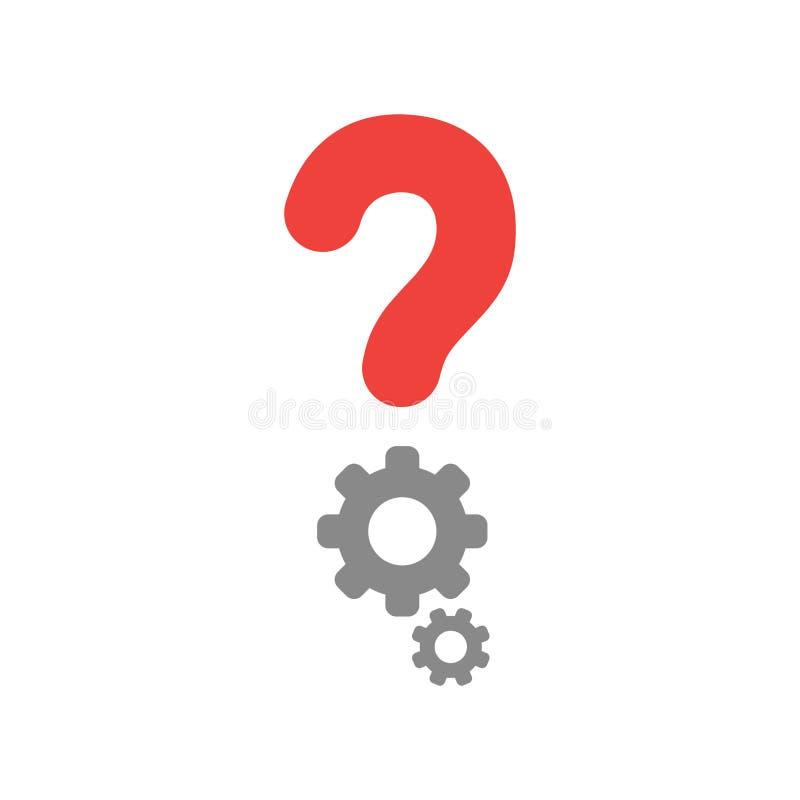 Vector il punto interrogativo ed innestato l'icona su bianco con la st piana di progettazione illustrazione di stock