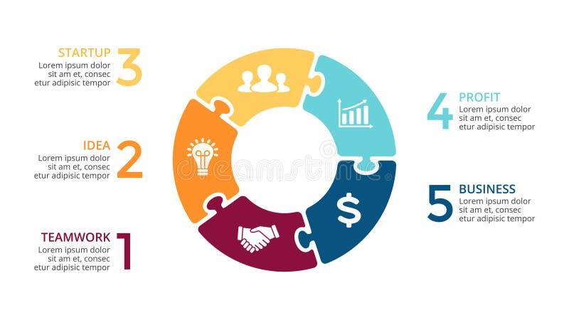 Vector il puzzle infographic, il diagramma del ciclo, il grafico del puzzle, grafico delle frecce del cerchio della presentazione royalty illustrazione gratis