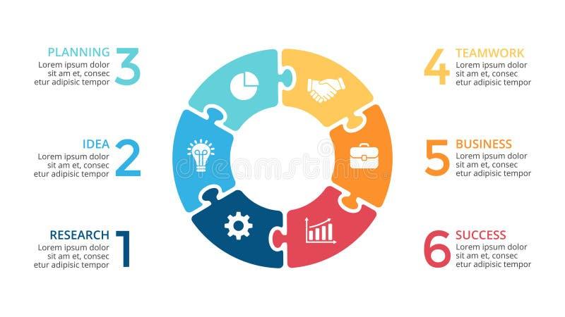 Vector il puzzle infographic, il diagramma del ciclo, il grafico del puzzle, grafico delle frecce del cerchio della presentazione illustrazione di stock