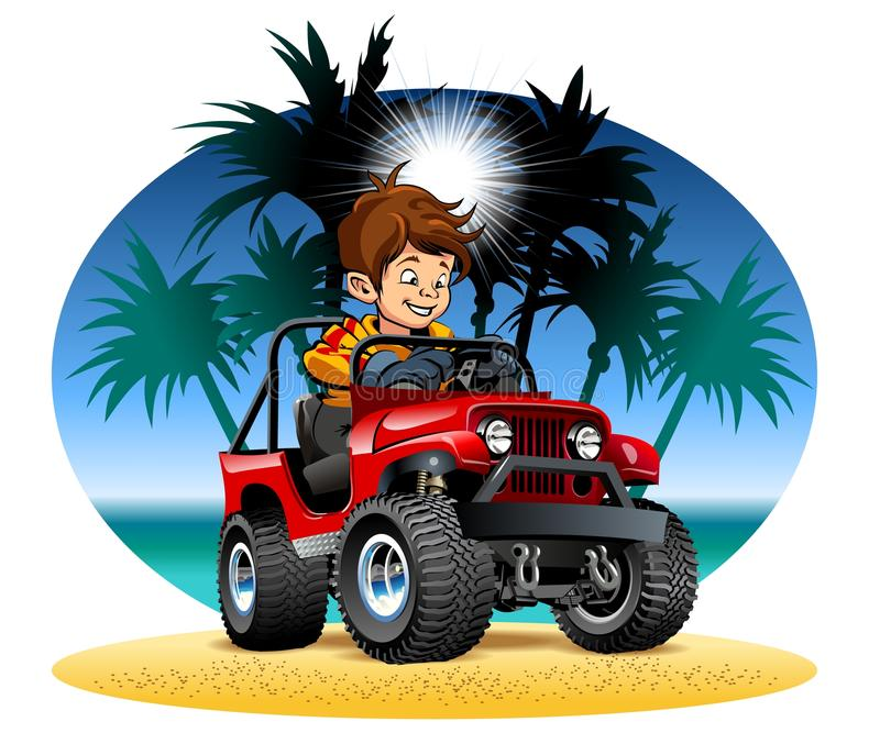 Vector il ragazzo del fumetto che conduce l'automobile 4x4 sulla spiaggia royalty illustrazione gratis