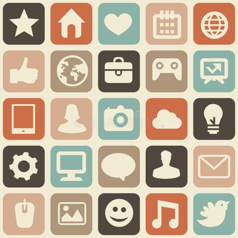 Vector il reticolo senza giunte con le icone sociali di media illustrazione vettoriale