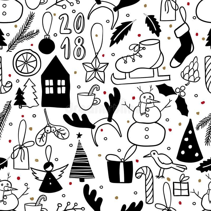 Vector il reticolo senza giunte Scarabocchio in bianco e nero semplice Pupazzo di neve, albero di Natale, pattino da ghiaccio, pr illustrazione vettoriale