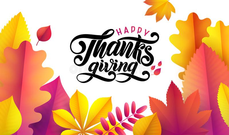 Vector il ringraziamento felice disegnato a mano, struttura caduta delle foglie su fondo bianco Calligrafia d'annata festiva di a royalty illustrazione gratis