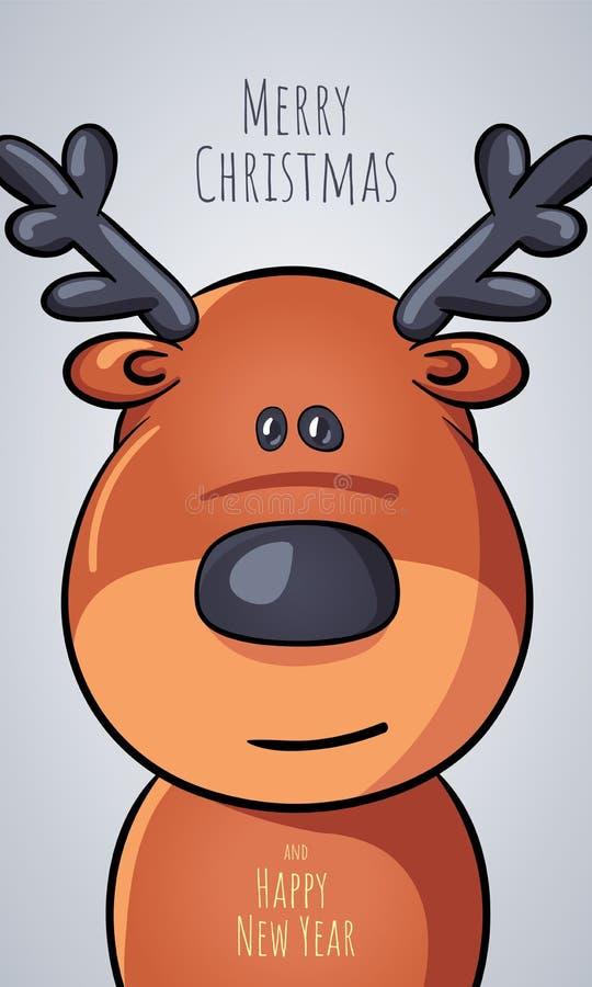 Vector il ritratto del primo piano del fumetto dei cervi di Natale sotto forma di cartolina di Natale di saluto con le congratula illustrazione vettoriale