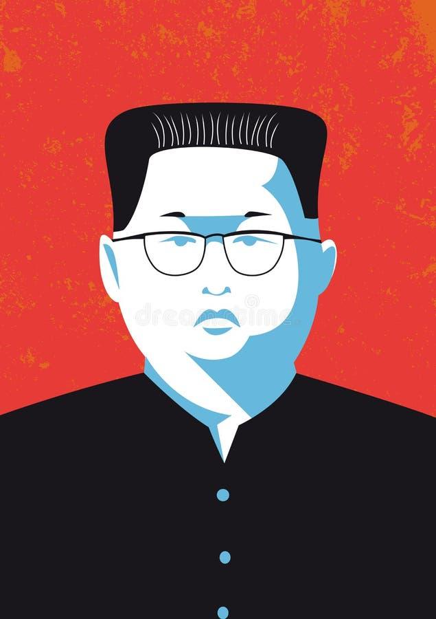 Vector il ritratto dell'Jong-ONU di Kim il capo della Corea del Nord
