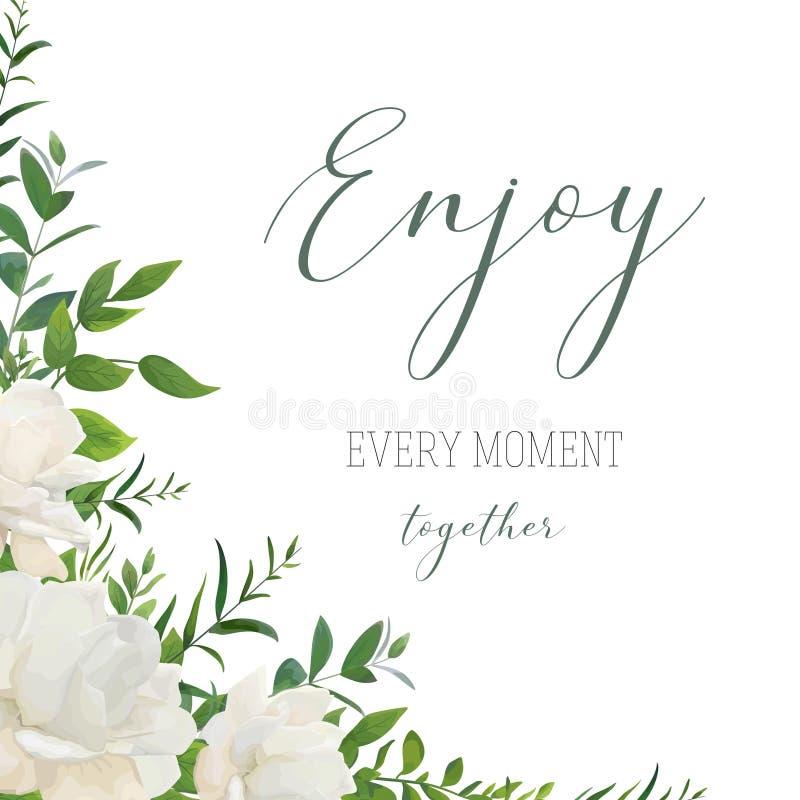 Vector il saluto floreale di stile dell'acquerello, nozze invitano, conservano il Th illustrazione vettoriale