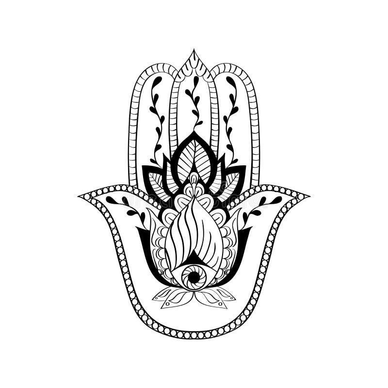 Vector il segno sacro - la mano di hamsa, mano di Fatima Ornamento etnico disegnato a mano indiano illustrazione vettoriale