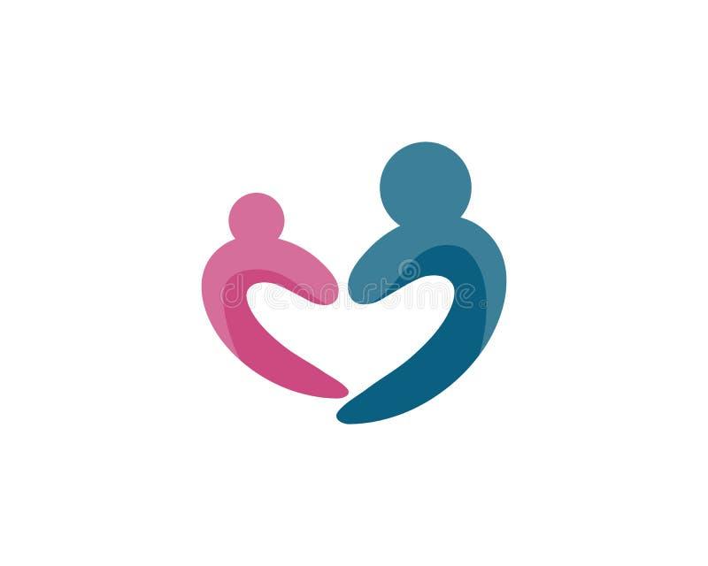 Vector il segno una comunit? di adozione della madre e la gente si preoccupa e coppia illustrazione di stock