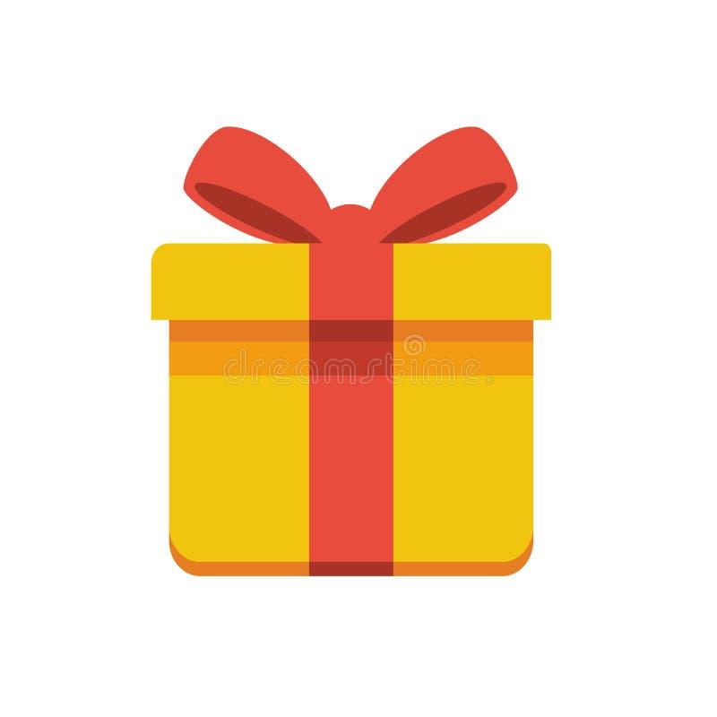 Vector il simbolo del segno del disegno dei contenitori di regalo con i nastri rossi che sono piani e semplici illustrazione vettoriale
