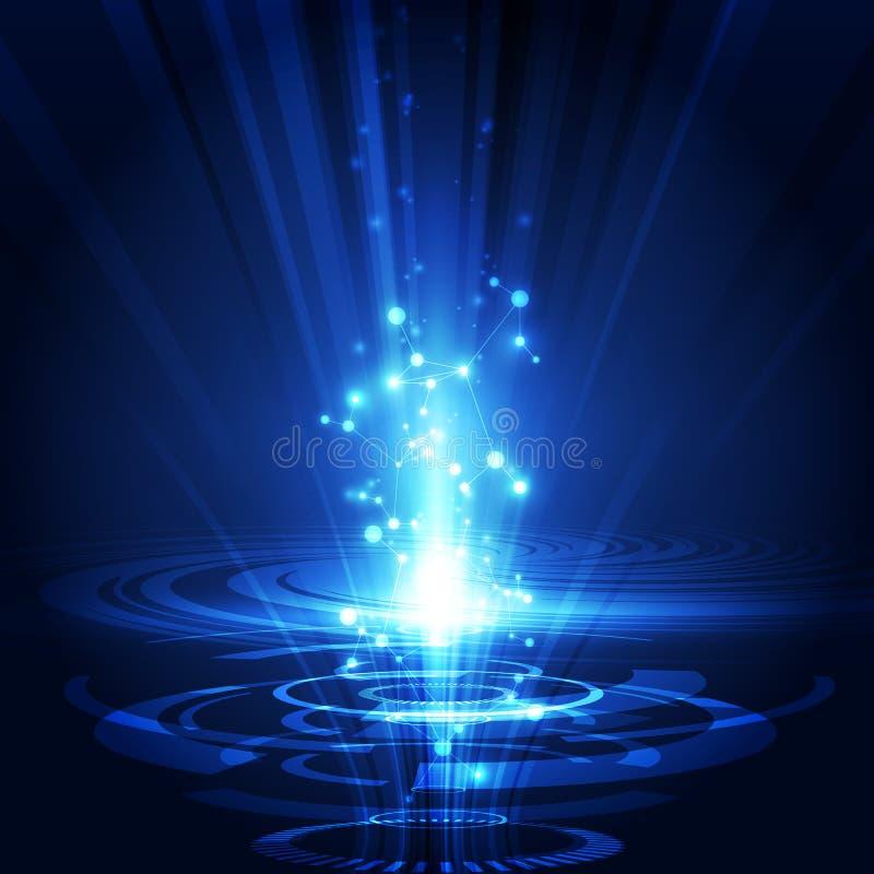 Vector il sistema futuristico astratto del circuito, concetto blu di colore di tecnologia digitale ad alta velocità dell'illustra illustrazione vettoriale