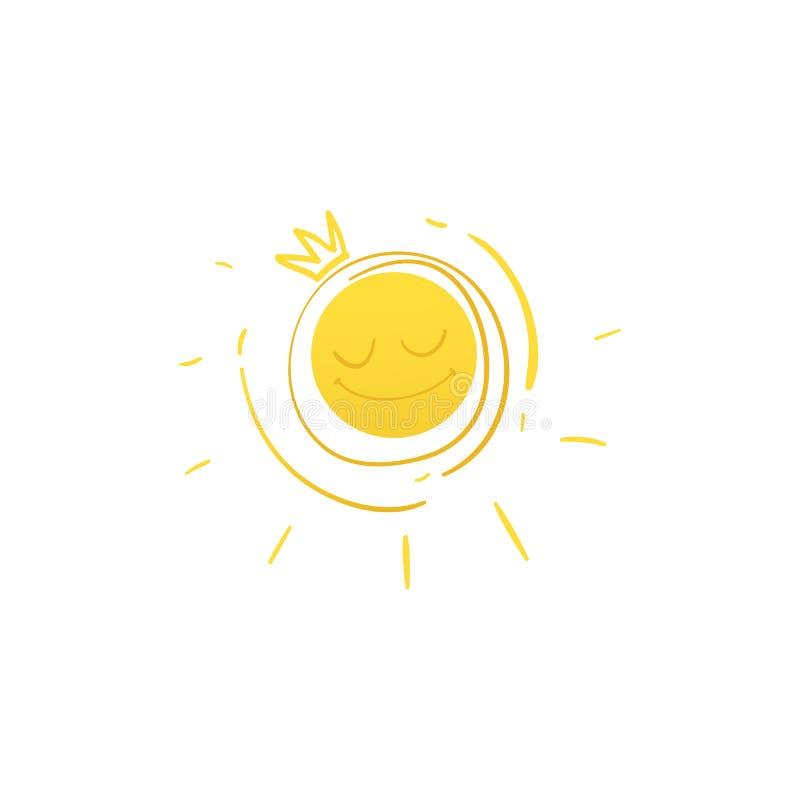 Vector il sole sorridente del fumetto dentro holden l'icona della corona royalty illustrazione gratis