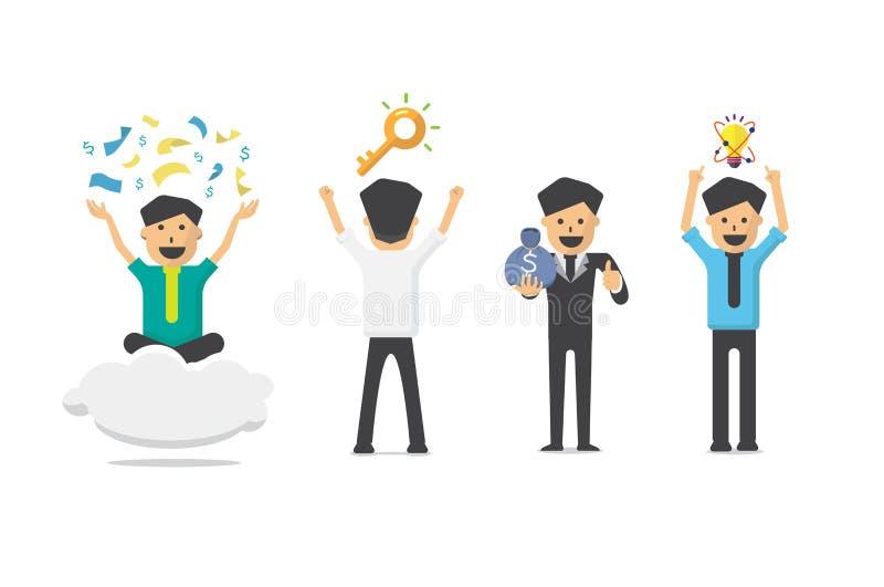 Vector il successo del carattere dell'uomo d'affari, concetto ricco di commercio illustrazione di stock