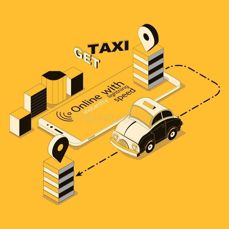 Vector il taxi online isometrico, app per lo smartphone illustrazione di stock
