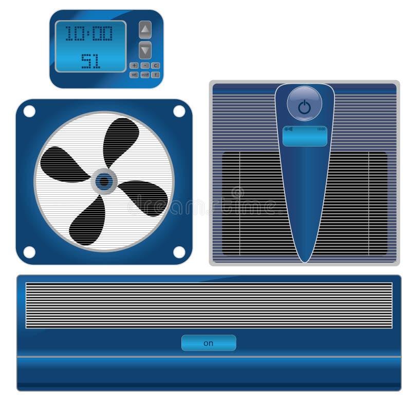 Vector il termometro ed il condizionamento d'aria di Digitahi royalty illustrazione gratis