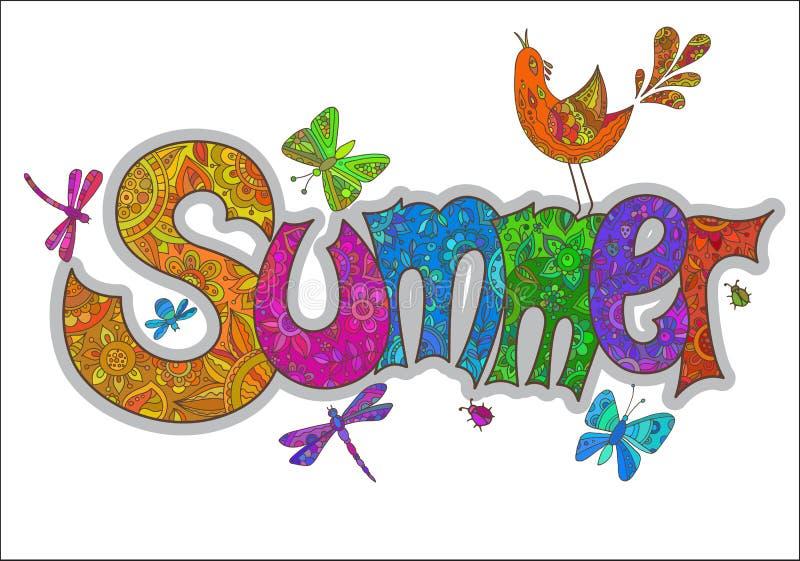 Vector il testo dell'estate con i fiori, le libellule, gli scarabei, uccello e royalty illustrazione gratis
