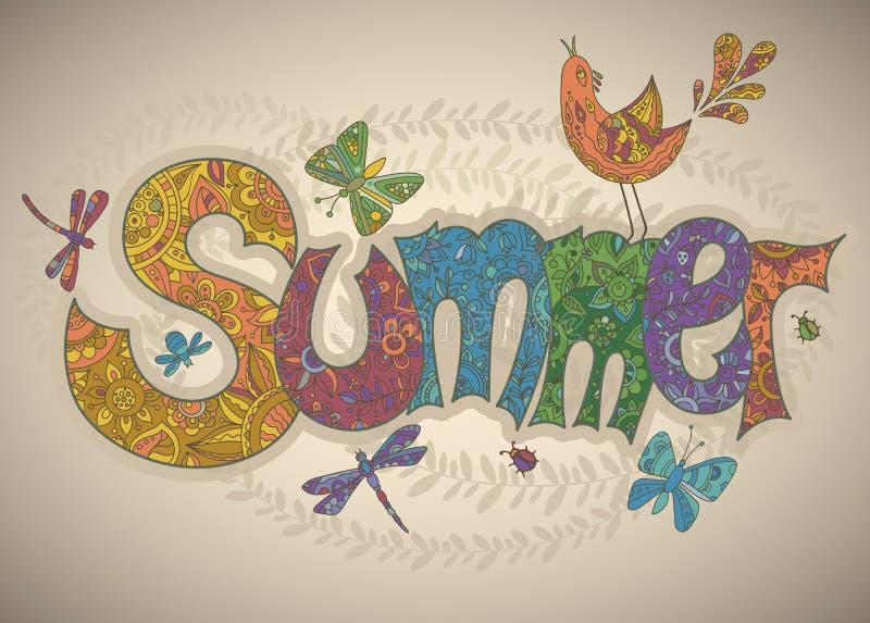 Vector il testo dell'estate con i fiori, le libellule, gli scarabei, uccello e illustrazione vettoriale