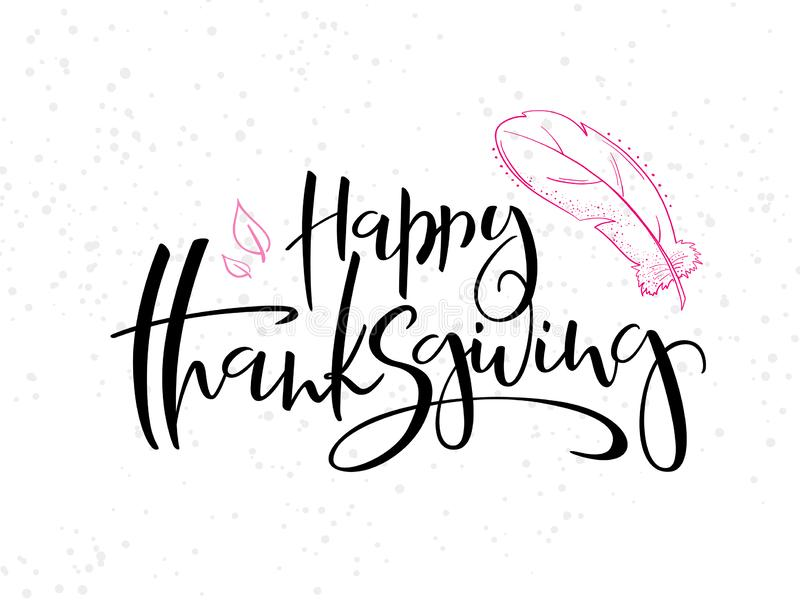 Vector il testo felice accogliente di ringraziamento dell'iscrizione della mano con la torta, le foglie ed i punti di scarabocchi illustrazione vettoriale