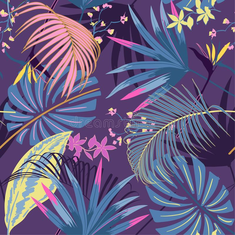 Vector il tropica luminoso del bello pastale artistico senza cuciture dell'estate illustrazione di stock