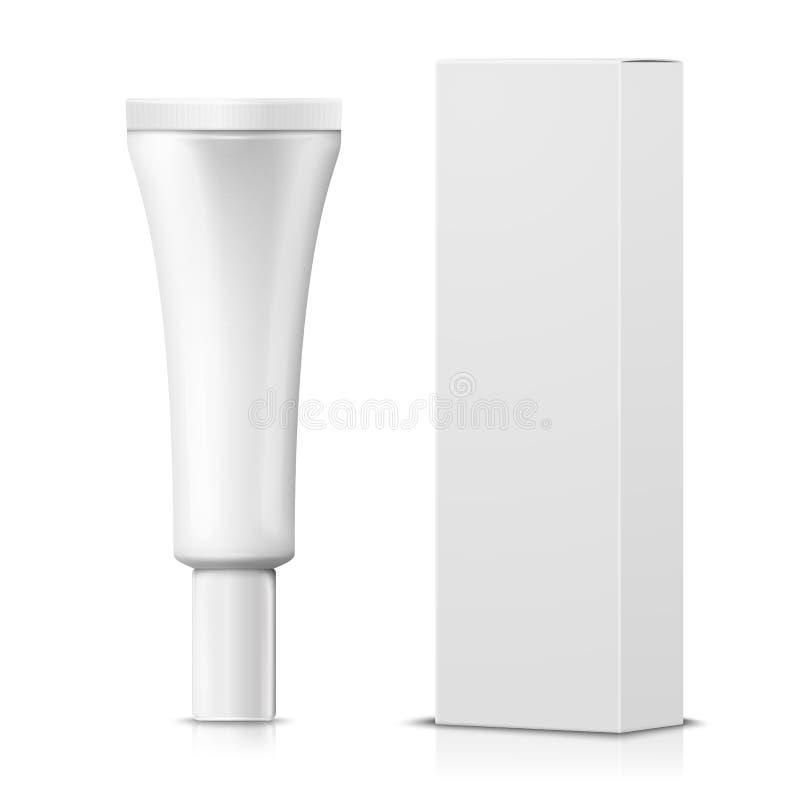 Vector il tubo crema realistico 3d con la scatola di carta illustrazione di stock