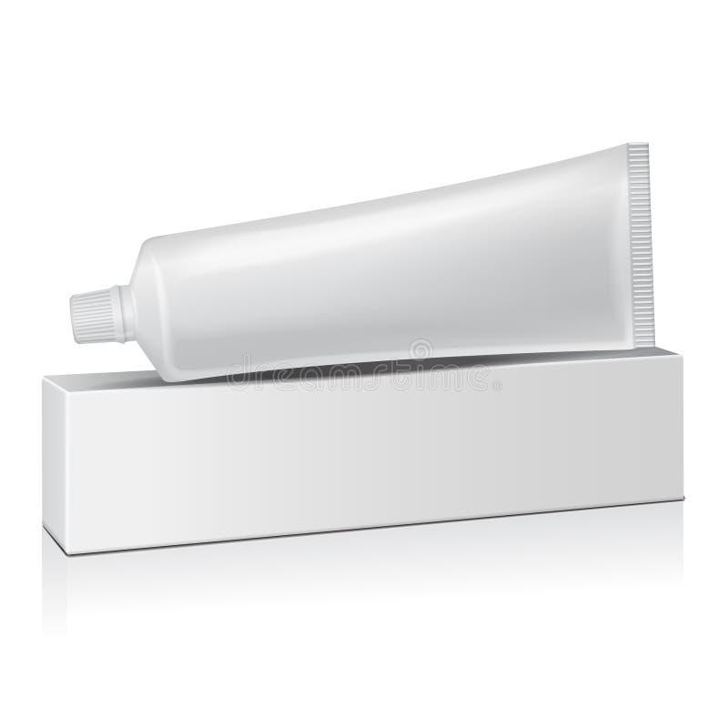 Vector il tubo di plastica con la scatola bianca per medicina o i cosmetici - il dentifricio in pasta, la crema, il gel, cura di  royalty illustrazione gratis