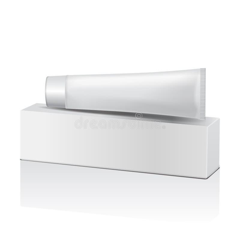 Vector il tubo di plastica e la scatola bianca per medicina o i cosmetici illustrazione vettoriale