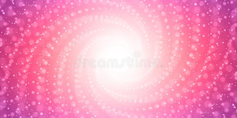 Vector il tunnel infinito dei chiarori brillanti su fondo rosa con profondità di campo bassa Tunnel d'ardore della forma dei punt illustrazione vettoriale