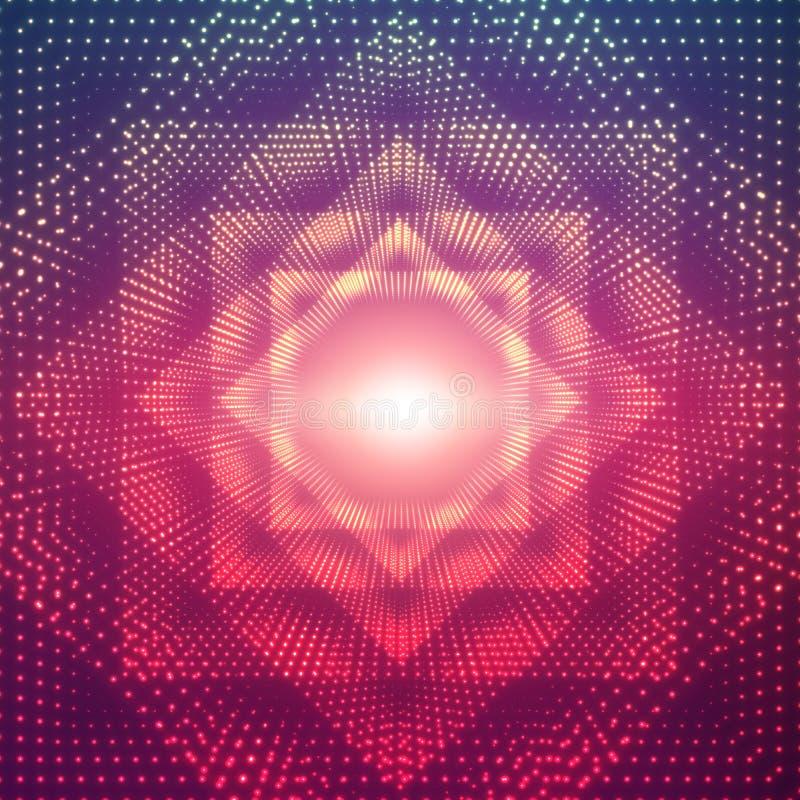 Vector il tunnel poligonale infinito dei chiarori brillanti su fondo viola Settori d'ardore del tunnel della forma dei punti illustrazione vettoriale