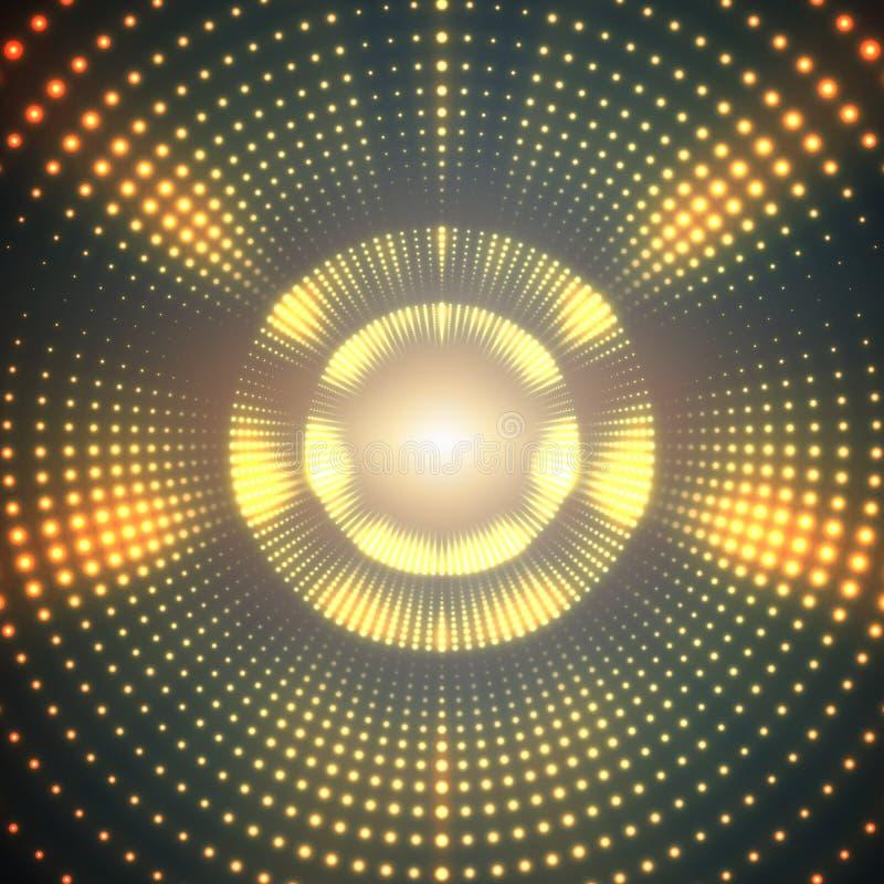 Vector il tunnel rotondo infinito dei chiarori brillanti su fondo verde illustrazione vettoriale